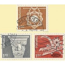 1973 - Switzerland  Sc# 571, 573/574  © Used, Nice. Landscapes and Architecture (Scott)