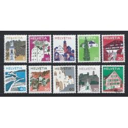 1973 - Switzerland  Sc# 558/562, 564/568  ** MNH Very Nice. Landscapes and Architecture (Scott)