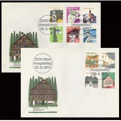 1973 - Switzerland  Sc# 558/562, 564/568  F.D.C.  Nice. Landscapes and Architecture (Scott)