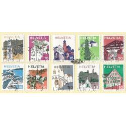 1973 - Switzerland  Sc# 558/562, 564/568  © Used, Nice. Landscapes and Architecture (Scott)