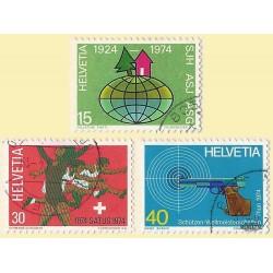 1974 - Switzerland  Sc# 586/588  © Used, Nice. Years Events (Scott)