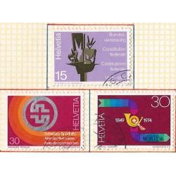 1974 - Switzerland  Sc# 596/598  © Used, Nice. Years Events (Scott)