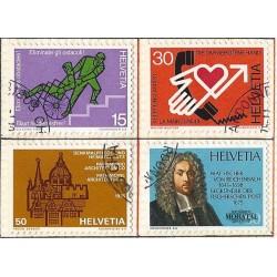 1975 - Switzerland  Sc# 606/609  © Used, Nice. Years Events (Scott)
