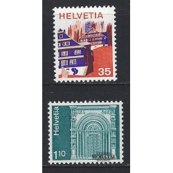 1975 - Switzerland  Sc# 563, 569  ** MNH Very Nice. Landscapes and Architecture (Scott)
