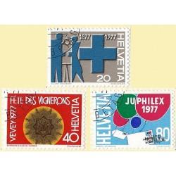 1977 - Switzerland  Sc# 616/619  © Used, Nice. Years Events (Scott)
