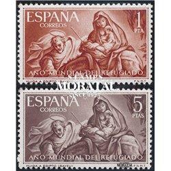 1961 Spanien 1221/1222  Flüchtling Wohltätigkeit ** Perfekter Zustand  (Michel)