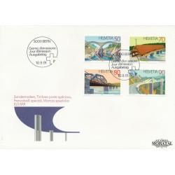 1991 - Switzerland  Sc# 893/896  F.D.C.  Nice. Bridges (Scott)