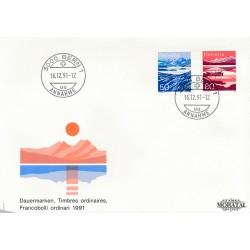 1991 - Switzerland  Sc# 904, 907  F.D.C.  Nice. Mountain Lakes (Scott)