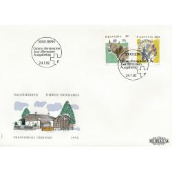1992 - Switzerland  Sc# 870, 879  F.D.C.  Nice. Animals (Scott)