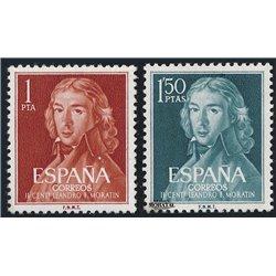 1961 Espagne 1005/1006  Moratin Personnalités **MNH TTB Très Beau  (Yvert&Tellier)