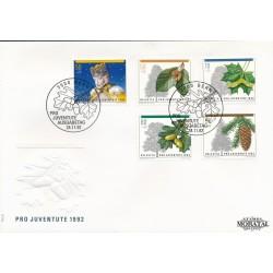 1992 - Switzerland  Sc# B581/B585  F.D.C.  Nice. Pro Juventute 92 (Scott)