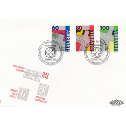 1993 - Switzerland  Sc# 925/927  F.D.C.  Nice. 150th First Swiss Postage Stamps (Scott)