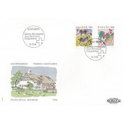 1994 - Switzerland  Sc# 878, 881  F.D.C.  Nice. Animals (Scott)