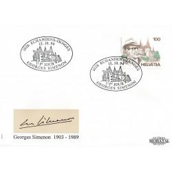 1994 - Switzerland  Sc# 948  F.D.C.  Nice. George Simenon (Scott)