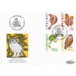 1995 - Switzerland  Sc# 950/953  F.D.C.  Nice. Endangered Species (Scott)