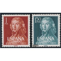 1961 Espagne 1005/1006  Moratin Personnalités *MH TB Beau  (Yvert&Tellier)