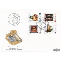 1996 - Switzerland  Sc# 978/981  F.D.C.  Nice. Music Boxes (Scott)