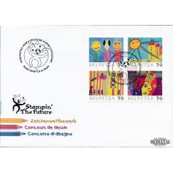 2000 - Switzerland  Sc# 1080/1083  F.D.C.  Nice. Children's Stamp Design (Scott)