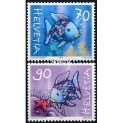 2001 - Switzerland  Sc# 1108/1109  ** MNH Very Nice. The Rainbow Fish (Scott)