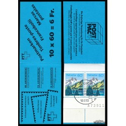 1993 Switzerland Sc Booklet Mountain Lakes  (o) Used, Nice  (Scott)