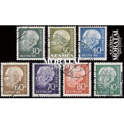 1957 Germany BRD Sc 755/761 Theodore Heuss  (o) Used, Nice  (Scott)