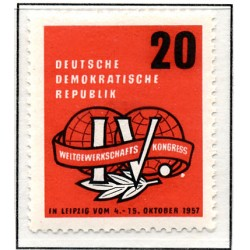 1957 Germany DDR Sc 0 World Trade Union Congress in Leipzig  *MH Nice, Mint Hinged  (Scott)