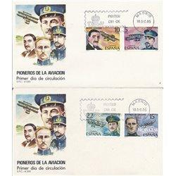 1980 Spanien 2485/2488  Luftfahrt-Pioniere Flugzeuge Ersttagsbrief  Guter Zustand  (Michel)