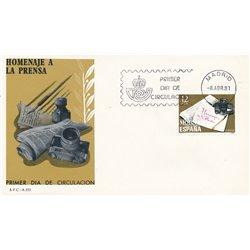 1981 Spanien 2494 Presse  Ersttagsbrief  Guter Zustand  (Michel)