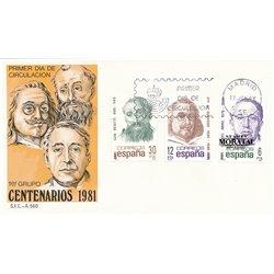 1981 Spanien 2501/2503  Hundertjährigen Persönlichkeiten Ersttagsbrief  Guter Zustand  (Michel)