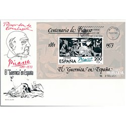 1981 Spain  Sc 2252 Sheet Picasso-Guernica Painting FDC Nice  (Scott)