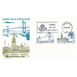 1981 Spain  Sc B179/180 Air mail Mail FDC Nice  (Scott)