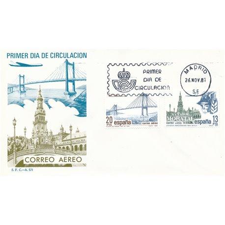 1981 Spanien 2524/2525  Luftpost Philatelie Ersttagsbrief  Guter Zustand  (Michel)