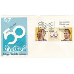 1988 Spanien 2810/2811  50 SSMM (Diptychon + Vignette)  Ersttagsbrief  Guter Zustand  (Michel)