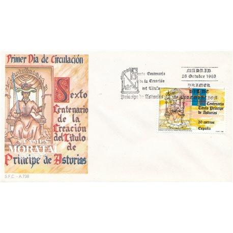 1988 Spanien 2856 Principe Asturias Könige Ersttagsbrief  Guter Zustand  (Michel)