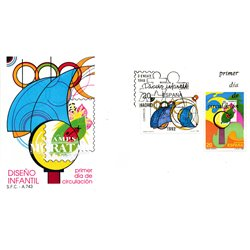 1989 Spanien 2867/2868  Kinder entwerfen Kindesalter Ersttagsbrief  Guter Zustand  (Michel)