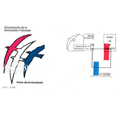 1989 Spanien 2869 Revolution in Frankreich  Ersttagsbrief  Guter Zustand  (Michel)