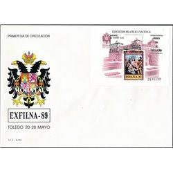 1989 Spanien Block34 Block Exfilna 89 Ausstellung Ersttagsbrief  Guter Zustand  (Michel)