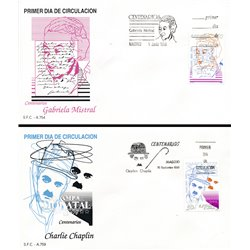1989 Spanien 2893/2903  Hundertjährigen Persönlichkeiten Ersttagsbrief  Guter Zustand  (Michel)