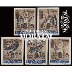 1936 España B-NE 17/21 Puerta Ayuntamiento. Sobrecargado Barcelona **MNH Perfecto Estado  (Edifil)