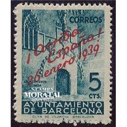 1939 España B-22 Puerta Ayuntamiento. Sobrecargado Barcelona **MNH Perfecto Estado  (Edifil)