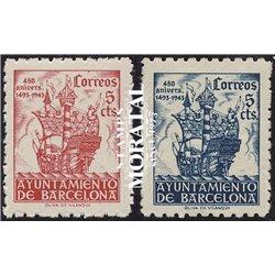 1943 Espagne 55/56 Colom Barcelone  *MH TB Beau  (Yvert&Tellier)