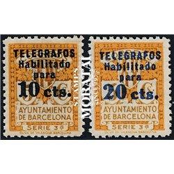 1934 España BT-4/5 Escudo Barcelona. Habilitado Barcelona **MNH Perfecto Estado  (Edifil)