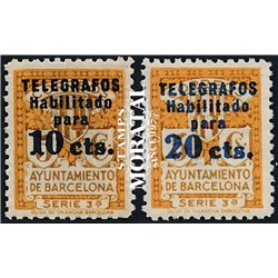 1934 Espagne 18/22 Exposition Barcelone. Surcharge Armoiries **MNH TTB Très Beau  (Yvert&Tellier)