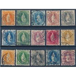 [05] 1882 Schweiz 58B-D, 59B-C, 60C, 61B-D, 62B/C, 63B/C, 64A-C, 69D, 70C  © Gebraucht. Komplette Reihe. Einige briefmarke mit e