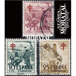 1951 Spanien Zwangszuschlagsmarken55/57 Pro-Tuberkulose Wohltätigkeit © Gebrauchte, Zustand  (Michel)