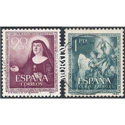 1952 Spanien 1008/1009  Eucharistische Religiös © Gebrauchte, Zustand  (Michel)