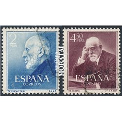1952 Spain 793/794  Cajal/Ferran Personalities © Used, Nice  (Scott)