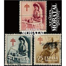 1953 Spanien Zwangszuschlagsmarken58/60 Pro-Tuberkulose Wohltätigkeit © Gebrauchte, Zustand  (Michel)