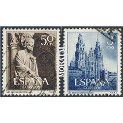 1954 Spanien 1025/1026  Heiligen Jahres Kloster-Tourismus © Gebrauchte, Zustand  (Michel)