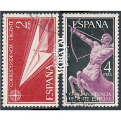 1956 Spanien 1071/1072  Allegorien  © Gebrauchte, Zustand  (Michel)